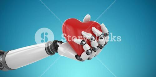 Composite image of 3d image of bionic person holding heart shape decor