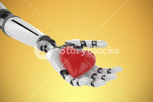 Composite image of 3d image of bionic person holding red heart shape decor