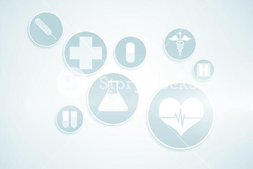 Medical icons in blue and white 3d