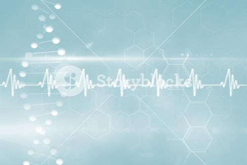 Blue DNA strand with ECG line 3d