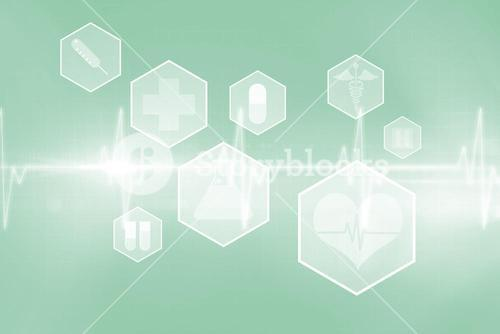Medical icons in hexagons interface menu 3d