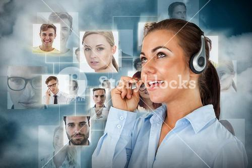 Composite image of call center agent looking upwards while talking