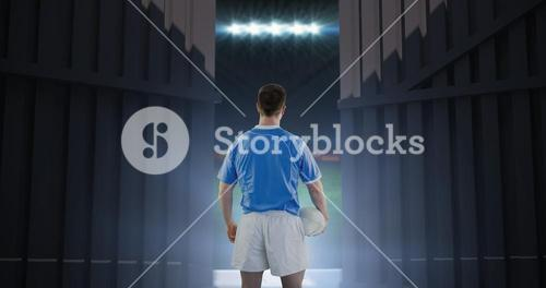 Composite image of rugby player holding a rugby ball 3d