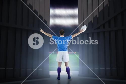 Composite image of rugby player about to throw a rugby ball 3d