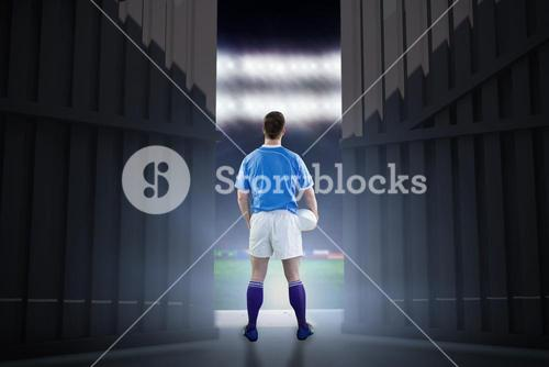 Composite image of rugby player gesturing with hands 3d