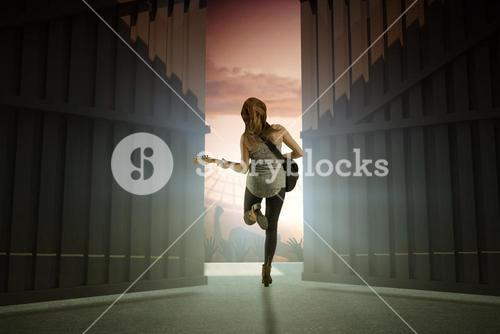 Composite image of pretty young girl playing her guitar 3d