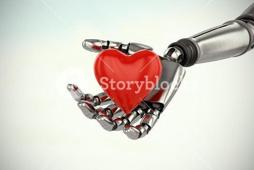 Composite image of three dimensional image of cyborg holding red heard shape decoration 3d