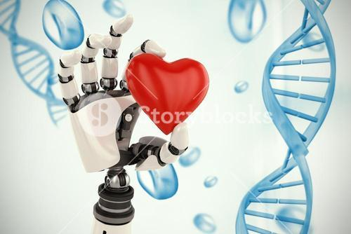 Composite image of 3d image of cyborg showing red heart shape decor 3d