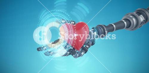 Composite image of 3d image of robot hand holding heard shape decoration