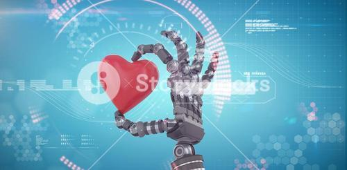 Composite image of 3d image of robot hand holding red heard shape decoration
