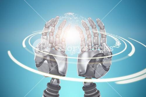 Composite image of composite image of robotic hands against blue background 3d
