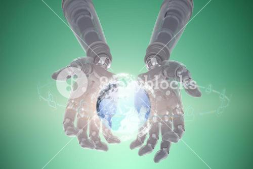 Composite image of robotic hands against green background 3d