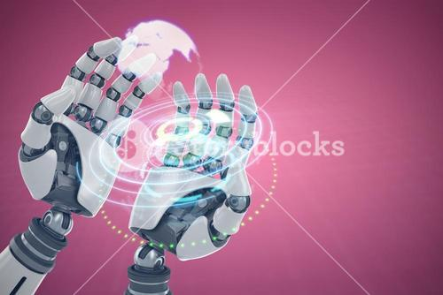 Composite image of composite image of robotic hands against white background 3d