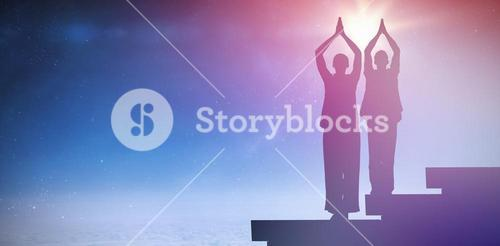 Composite image of peaceful couple in white doing yoga together