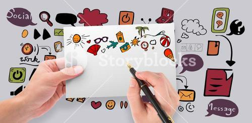 Composite image of hands holding card and pen