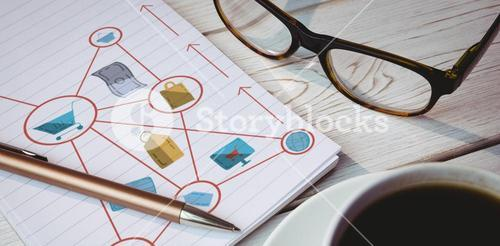 Composite image of composite image of various icons connected to cart representing online shopping