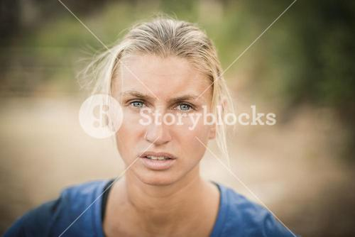 Portrait of tired woman during obstacle course