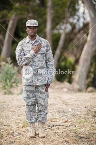 Mid section of soldier taking pledge