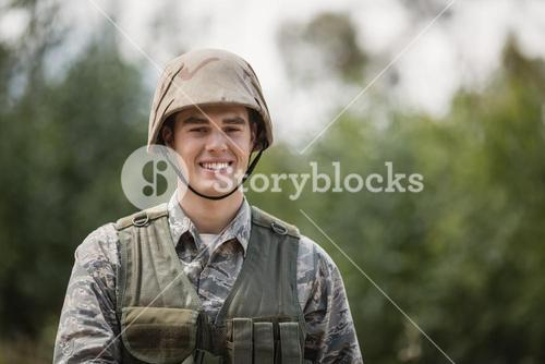 Portrait of smiling military soldier