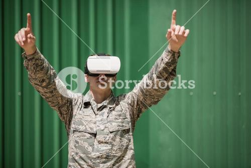 Military soldier using virtual reality headset