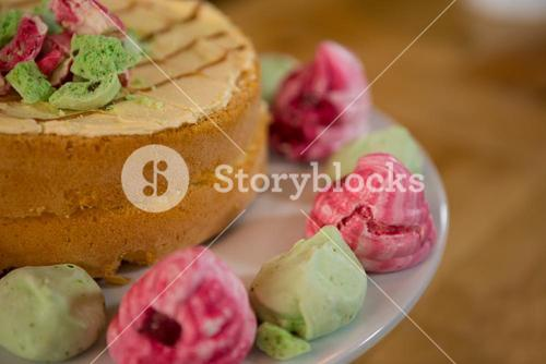 Delicious cake served on plate in coffee shop