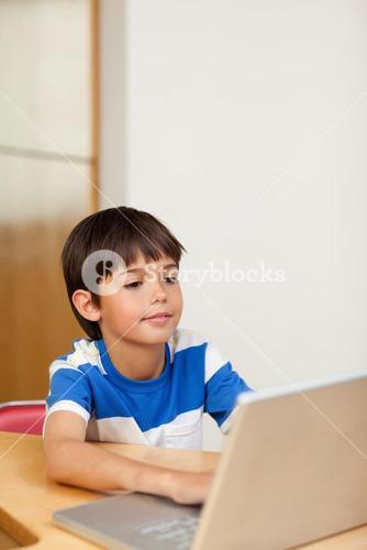 Boy playing computer games on the laptop