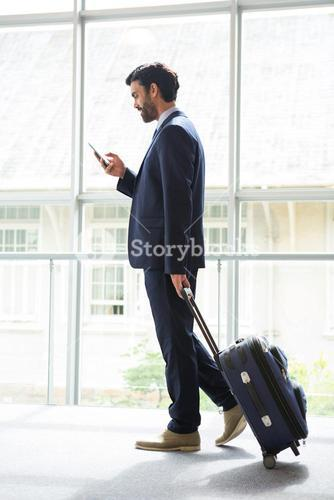 Businessman with trolley bag using mobile phone
