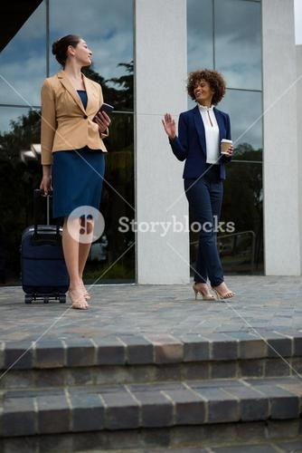 Businesswoman walking with luggage bag