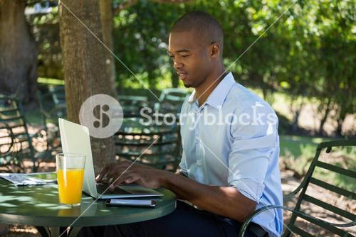 Young man using laptop at restaurant