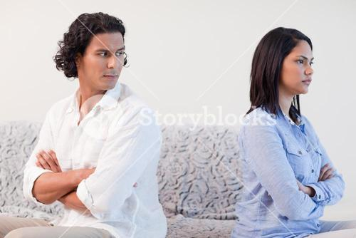 Couple having a fight in the living room
