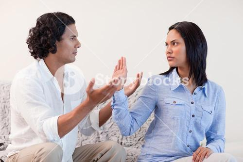 Male begging his girlfriend for pardon