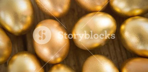 Close-up of golden Easter eggs