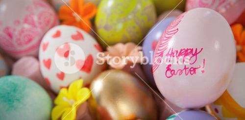 Painted easter eggs with different designs