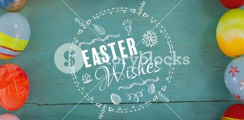 Composite image of easter wishes logo