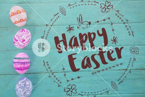 Composite image of happy easter red logo against a white background