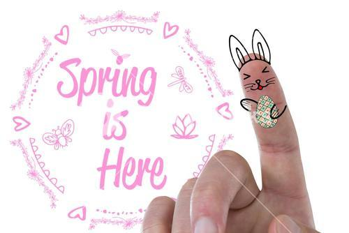 Composite image of digitally composite image of fingers representing easter bunny