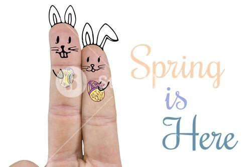 Composite image of fingers representing easter bunny