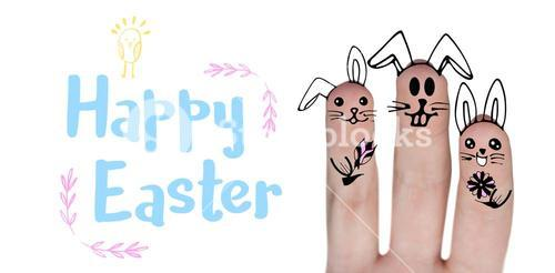 Composite image of digitally generated image of fingers painted as easter bunny