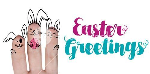 Composite image of vector image of fingers painted as easter bunny