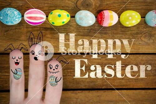 Composite image of digitally generated image of fingers representing easter bunny