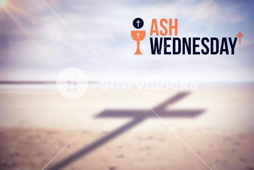 Composite image of ash wednesday text against white background