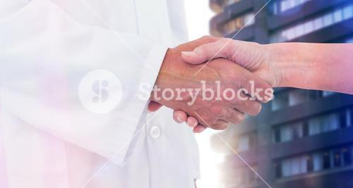 Composite image of doctor shaking hands with patient