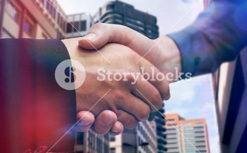 Composite image of corporate people shaking hands