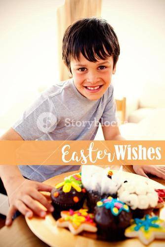 Composite image of happy boy eating colorful confectionery