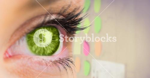Green eye with sticky notes in background