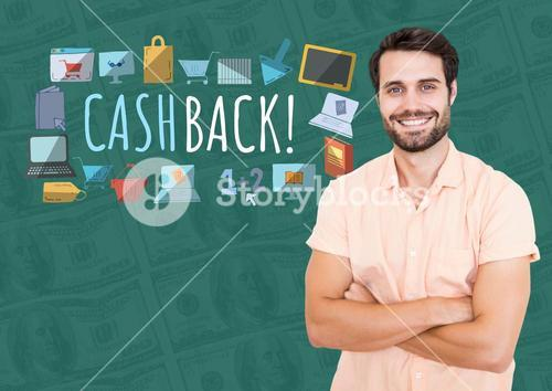Smiling man with arms folded and Cashback text with drawings graphics