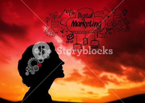 Shadow of woman looking the sky and Digital marketing graphic