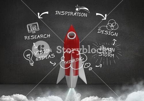 3D Rocket flying and Design Research text with drawings graphics