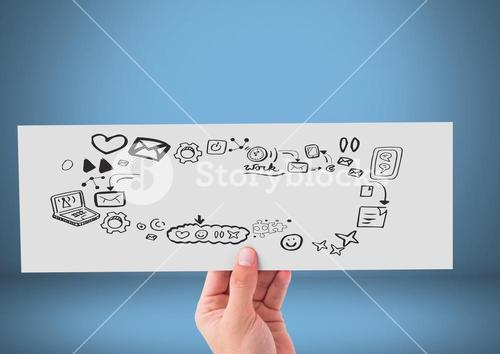 Hand holding card with phone and social media graphics drawings