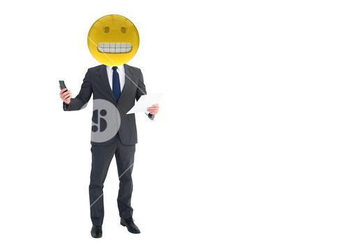 Business men with predicament emoji face